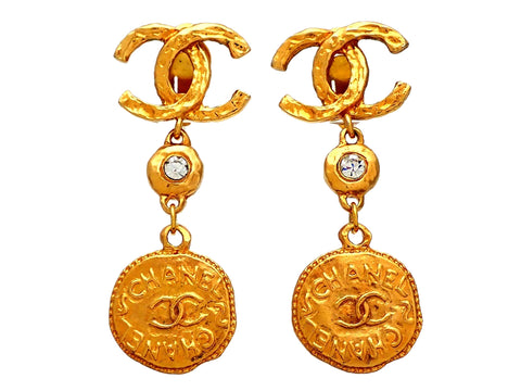 Authentic vintage Chanel earrings CC logo Glass Stone Medal Dangled