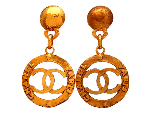 Authentic vintage Chanel earrings CC Letter Logo Round Dangled