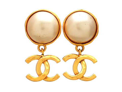 Authentic vintage Chanel earrings Faux Pearl Round CC logo Double C Dangled