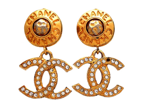 Authentic vintage Chanel earrings CC Letter logo Rhinestone Double C Dangled