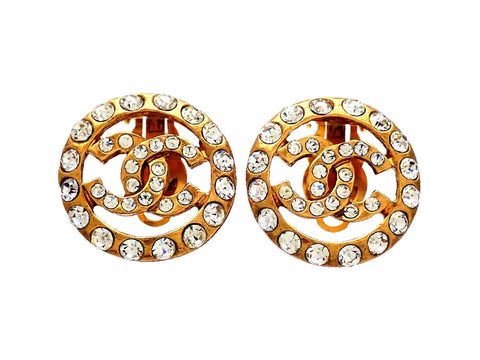 Authentic vintage Chanel earrings CC Logo Round Rhinestone