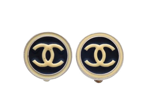 Authentic vintage Chanel earrings CC logo Silver Black White Round