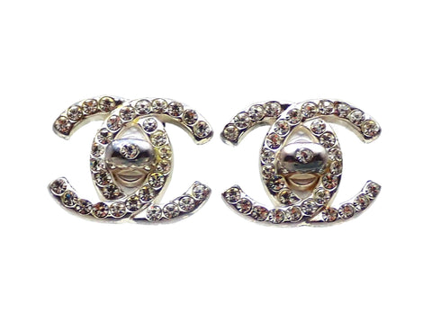 Authentic vintage Chanel earrings Silver Turnlock CC Logo Double C Rhinestone