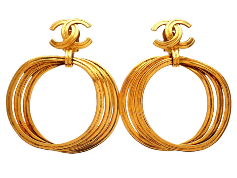 Authentic vintage Chanel earrings gold CC logo dangled plural hoops