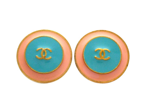 Authentic vintage Chanel earrings Pale Pink Blue CC logo Round