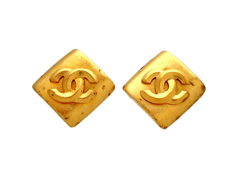 Authentic vintage Chanel earrings Rhombus CC logo