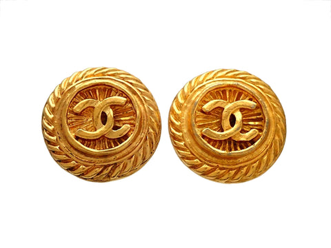 Authentic vintage Chanel earrings CC logo Rope Round