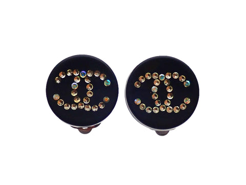Authentic vintage Chanel earrings Black CC logo Rhinestone Round
