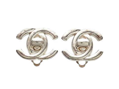 Authentic vintage Chanel earrings Silver CC turnlock