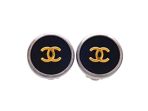 Authentic vintage Chanel earrings Silver Black Round Gold CC logo