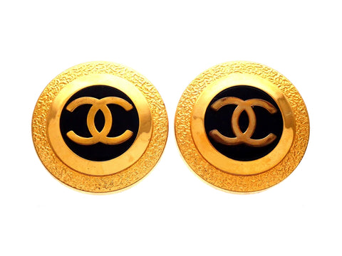 Authentic vintage Chanel earrings Gold Black Round CC logo