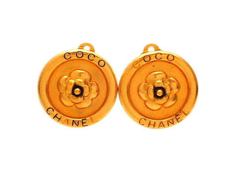 Authentic vintage Chanel earrings Gold Camellia Letter logo Round