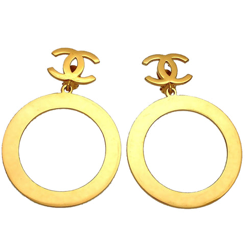 Authentic vintage Chanel earrings gold CC logo clip huge hoop dangled