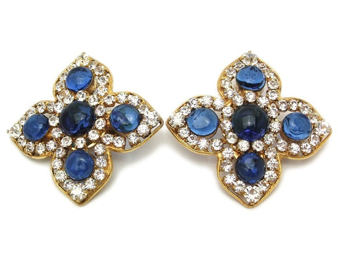 Authentic vintage Chanel earrings blue gripoix glass rhinestone flower