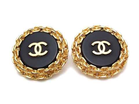 Authentic vintage Chanel earrings black gold CC large round