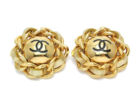 Authentic vintage Chanel earrings CC gold leather chain round