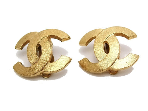 Authentic vintage Chanel earrings gold CC