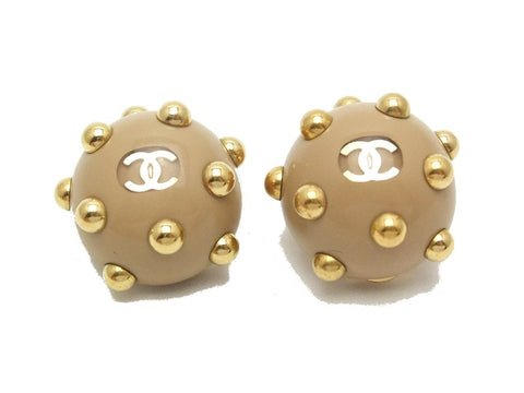 Authentic vintage Chanel earrings gold CC beige small ball