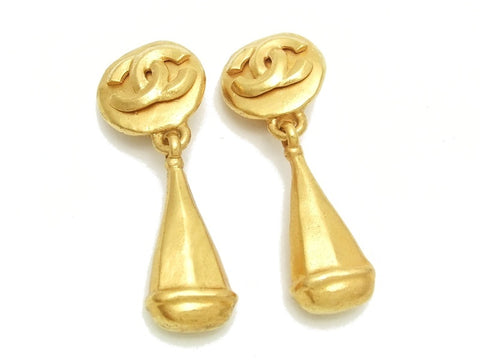 Authentic vintage Chanel earrings gold CC swing drop dangle large