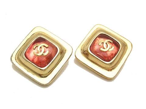 Authentic vintage Chanel earrings gold CC pink glass stone rhombus