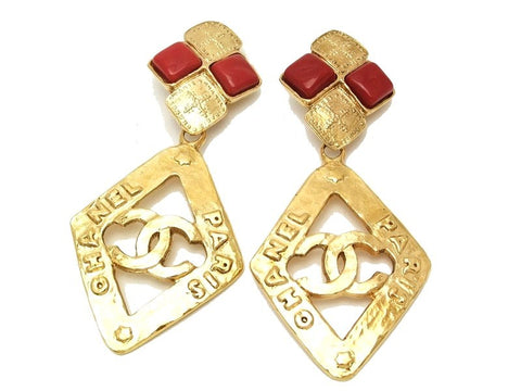 Authentic vintage Chanel earrings red stone gold CC rhombus dangle