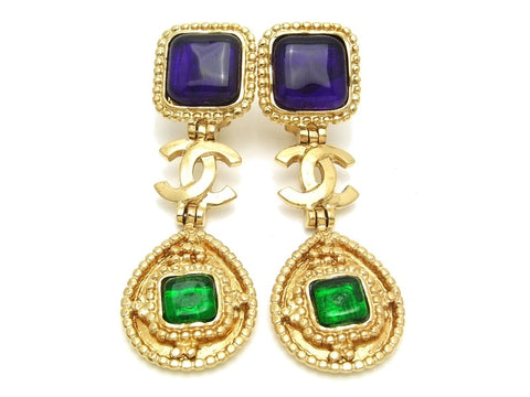 Authentic vintage Chanel earrings gold CC green navy blue glass dangle