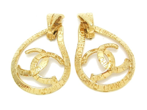 Authentic vintage Chanel earrings gold CC drop hoop logo 2way dangle