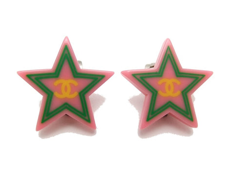 Authentic vintage Chanel earrings CC pink plastic star