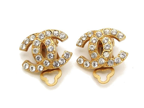 Authentic vintage Chanel earrings gold CC rhinestone small