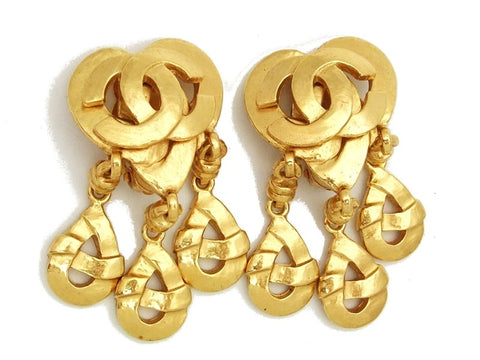 Authentic vintage Chanel earrings gold CC heart swing drop dangle