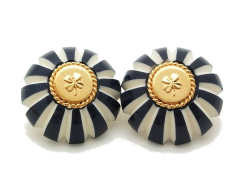 Authentic vintage Chanel earrings gold clover blue white plastic round