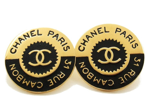 Authentic vintage Chanel earrings black gold CC 31 rue cambon round