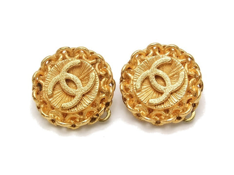 Authentic vintage Chanel earrings gold CC small round