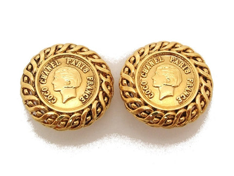 Authentic vintage Chanel earrings gold COCO logo round small