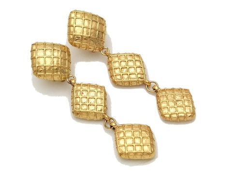 Authentic vintage Chanel earrings gold triple rhombus long sale