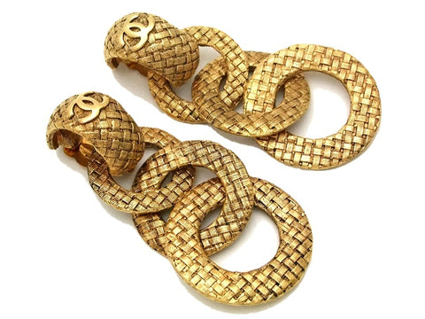 Authentic vintage Chanel earrings gold CC triple hoop dangle clip on
