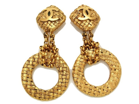Authentic vintage Chanel earrings gold CC swing chain hoop clip on
