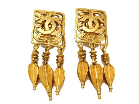 Authentic vintage Chanel earrings gold CC quad 3 swing charms dangle