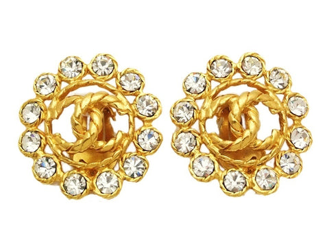Authentic vintage Chanel earrings gold CC rhinestone