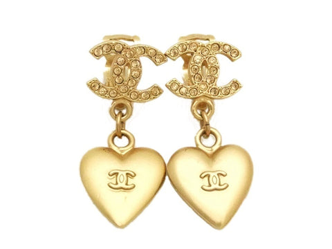 Authentic vintage Chanel earrings rhinestone CC gold heart dangle