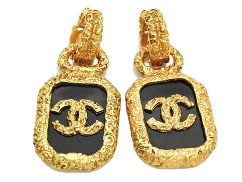 Authentic vintage Chanel earrings gold CC black plastic quad dangle