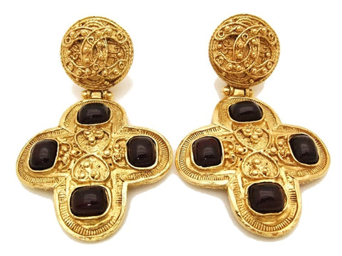 Authentic vintage Chanel earrings gold CC cross red glass stone dangle