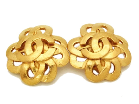 Authentic vintage Chanel earrings gold CC flower large clip on