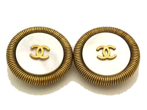 Authentic vintage Chanel earrings gold CC white stone large