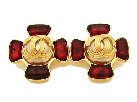 Authentic vintage Chanel earrings gold CC pearl red glass stone cross