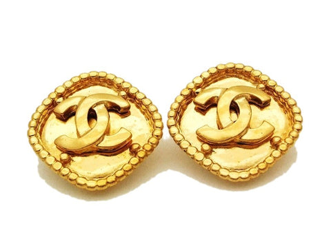Authentic vintage Chanel earrings gold CC rhombus clip on