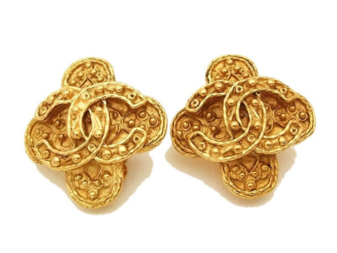 Authentic vintage Chanel earrings gold CC cross clip on