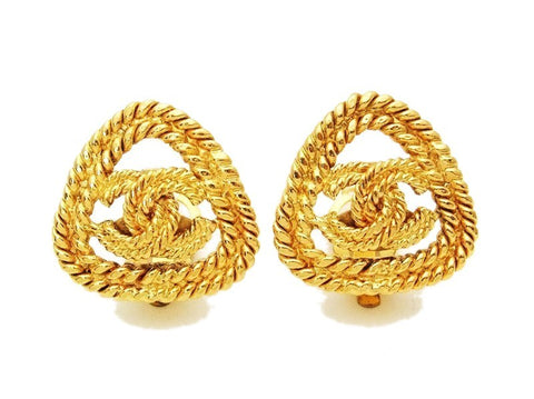 Authentic vintage Chanel earrings gold CC triangle rope clip on