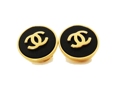 Authentic vintage Chanel earrings gold CC black round small