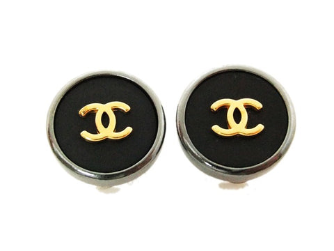 Authentic vintage Chanel earrings gold CC black round small clip on